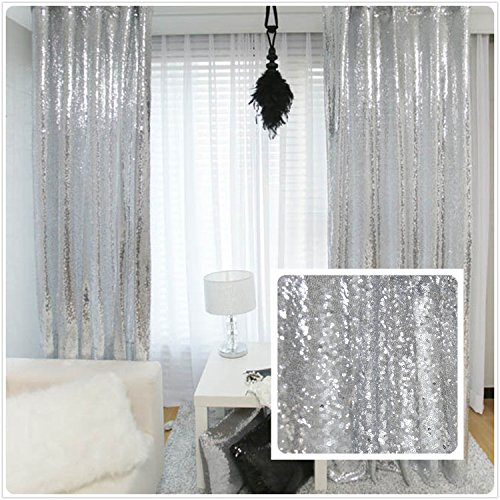 TRLYC New Year Sequin Silver Curtains, Select You Size, 4FT8FT Sparkly Silver Sequin Fabric Photography Backdrop, Best Wedding/Home/Party Fashion Decoration by TRLYC