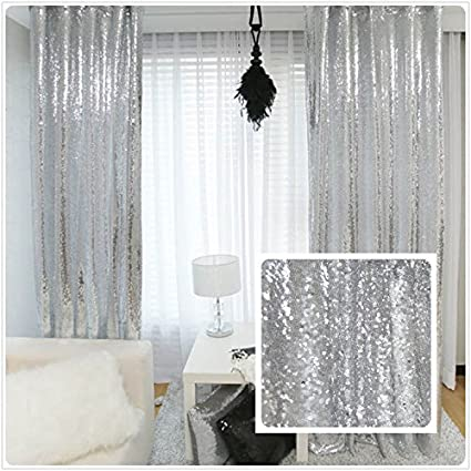 New Year 80 Off Sequin Silver Curtains Select You Size 8FT8FT Sparkly