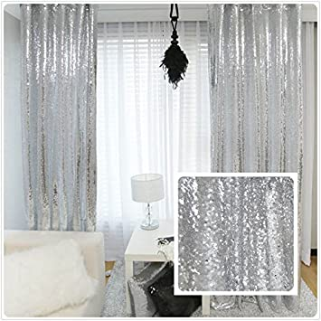 New Year 80 Off Sequin Silver Curtains Select You Size 5FT8FT Sparkly