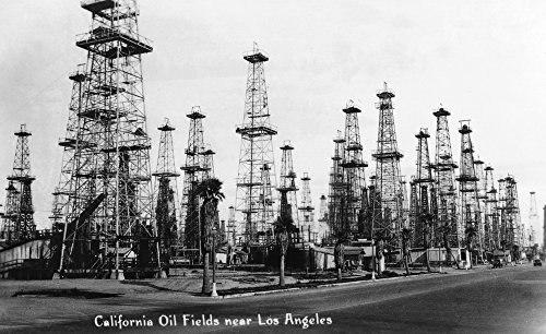 (California - View of Oil Fields near Los Angeles - Vintage Photograph (36x54 Giclee Gallery Print, Wall Decor Travel Poster))