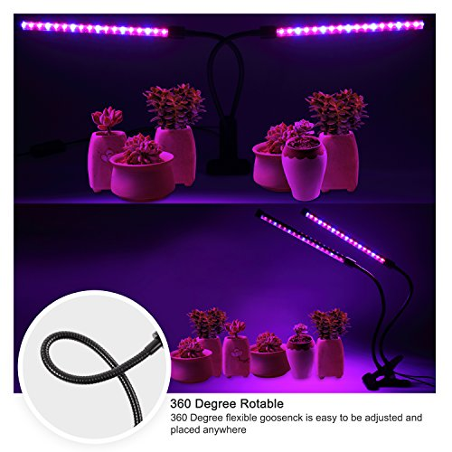 Ankace GrowLight [2018 Upgraded Version] 18W Dual Head Timing 36 LED 5 Dimmable Levels Grow Lights for Indoor Plants with Red/Blue Spectrum, Adjustable Gooseneck, 3/6/12H Timer, 3 Switch Modes by Ankace (Image #2)
