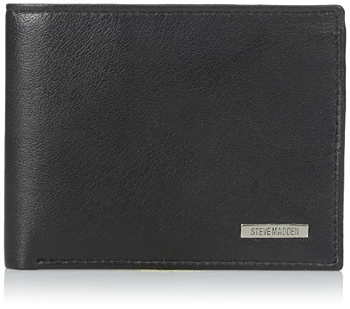 Steve Madden Mens Passcase Wallet with Bottle Opener, Black, One Size