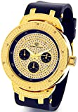 Mens Super Techno Diamond Watch Genuine Diamond Watch  Oversized Gold Case Black Rubber Band w/ 2 Interchangeable Bands