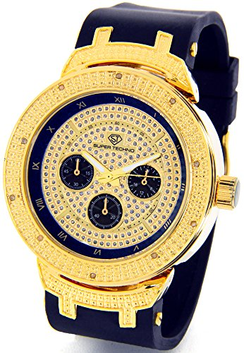 Mens Super Techno Diamond Watch Genuine Diamond Watch  Oversized Gold Case Black Rubber Band w/ 2 Interchangeable Bands (Super Techno Watches For Men Gold compare prices)