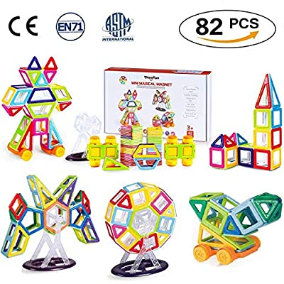 Blocchi Da Costruzione Magnetici Theefun 82 Pezzi Giochi Educativi Per Costruzioni Per Ragazzi E Ragazze Kit Di Tessere Colorate Magnetiche Per Bambini