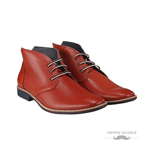 Italiano Allacciare Vacchetta Chukka Modello Uomo Handmade Rosso Lecce Pelle Boots in Pelle Rilievo da in vqq6E8wR
