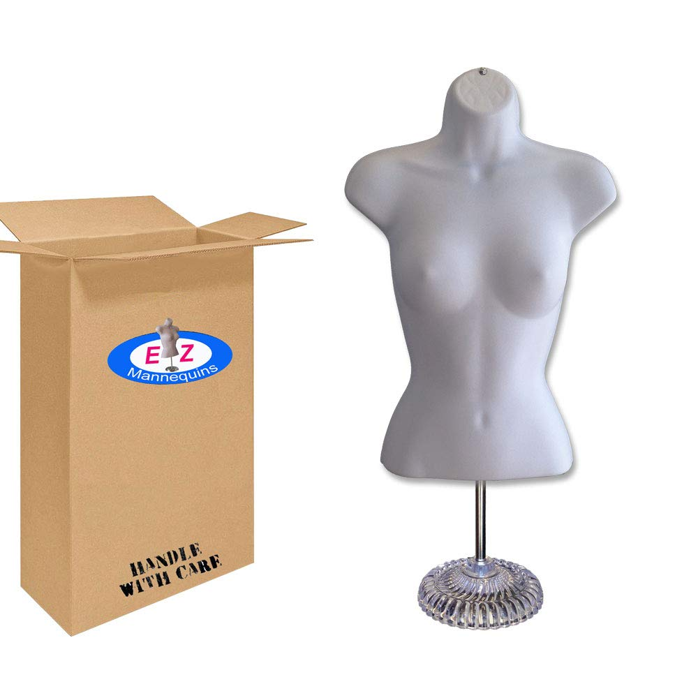 Female Mannequin Torso, Dress Form Hollow Back Body Tshirt Display, w/Economic Plastic Stand for Counter or Hanging By EZ-Mannequins, Temporal Photos or Design, Easy to Assemble and Store, S-M Sizes.