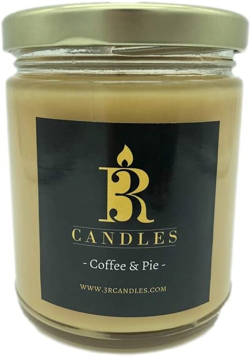 3R Candles Coffee & Pie Scented Candle - Soy/Paraffin Wax - -Hazelnut & Apple Pie Fragrance Oils - Strong Coffee Autumn Season Oil Scents- Romantic Gifts for Women - Birthday Gift Ideas
