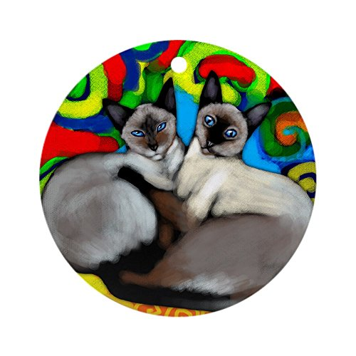 (CafePress Siamese Cats Ornament (Round) Round Holiday Christmas Ornament)