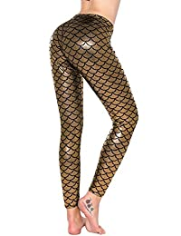 Women Shiny Mermaid Fish Scales Digital Printed Tight Pants Leggings