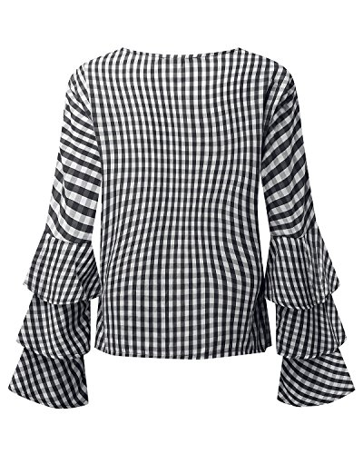 StyleDome Mujer Camiseta Playa Mangas Largas Volante Verano Cuello Redondo Elegante Noche Oficina Negro