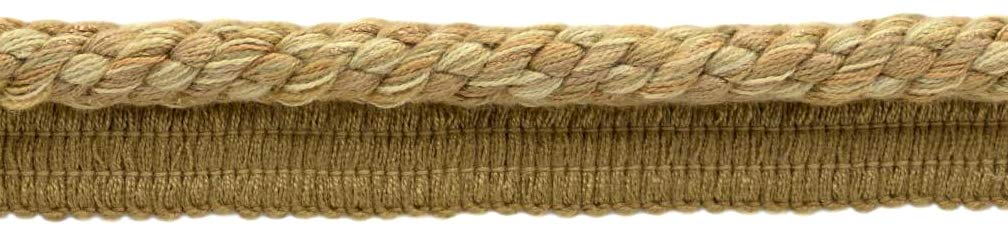 DÉCOPRO Package of 24 Yards|Elaborate 3/8 inch Camel Beige, Straw, Harvest Gold Veranda Collection Trim Cord with Sewing Lip|Style# 0038V|Color: Savanna Gold - VNT5 (72 Feet / 21.9 Meters) by DÉCOPRO