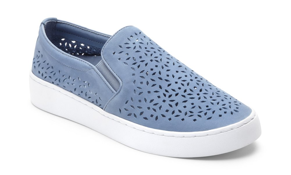 Vionic Women's Splendid Midi Perf Slip-on - Ladies Sneakers with Concealed Orthotic Arch Support Light Blue 8 M US by Vionic