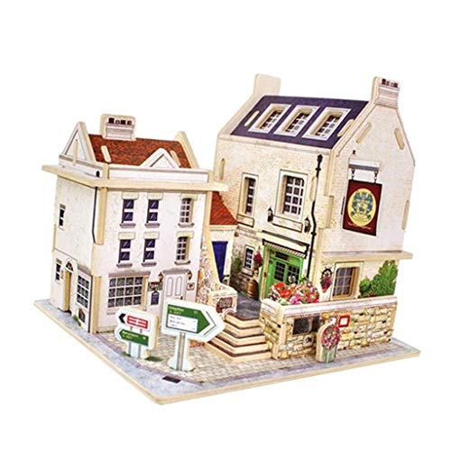 - Brosco Handcrafted Detachable Wooden Dolls House Kit - Miniatures Creative Building