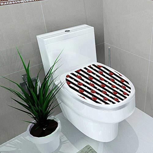 Toilet Seat Sticker red Apple glitteron Stripe Background Waterproof Decorative Toilet Cover Stickers W12 x L14