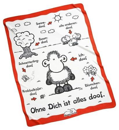 Sheepworld Decke Ohne Dich Ist Alles Doof.Sheepworld 40419 Fleecedecke Ohne Dich Ist Alles Doof Weiss