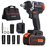 GOXAWEE 1/2' Impact Wrench Kit, 20V 4000mAh Brushless Cordless Impact Driver Set with 300N.M High Torque, 1/4' Collet,...
