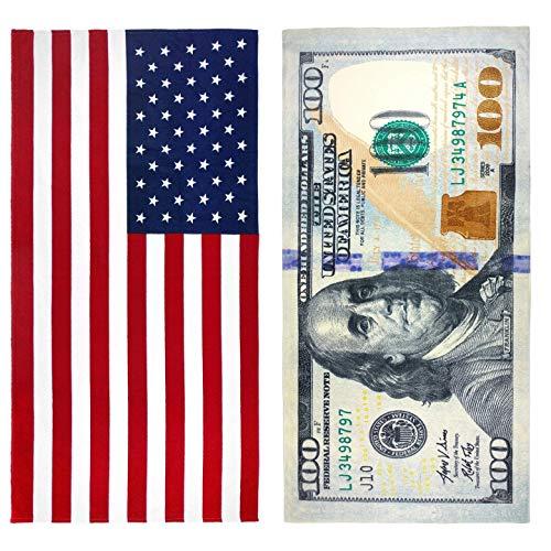 $100 Bill & American Flag Printed Beach Towel Set - 2 Towels