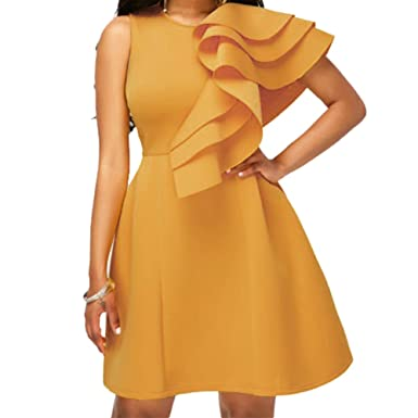 ba42f1bcef5 Bodycon4U Women s Ruffle Sleeve Round Neck Bodycon Bandage Party Cocktail  Flare Dress Yellow S