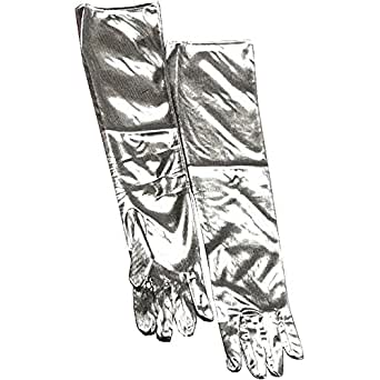 Long Silver Lame Gloves