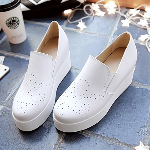 Sfnld Dames Causale Platform Ronde Neus Slip Op Verhoog Binnen Loafers Sneakers Wit