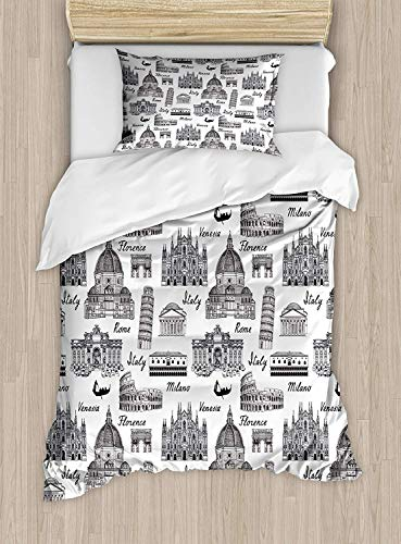 SINOVAL City Duvet Cover Set Twin Size, Monochrome Sketch Style Famous Places from Italy Rome Milano European Architecture,Fashion 2 Piece Bedding Set with 1 Pillow Sham, Black White