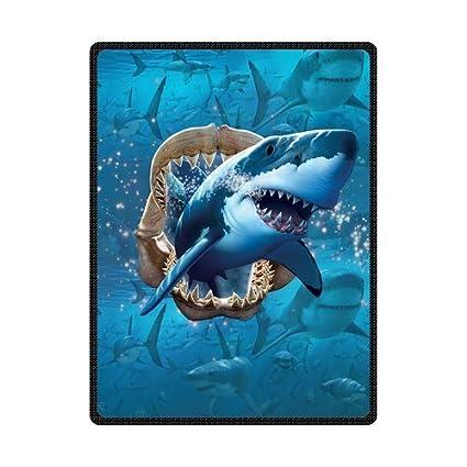 b66374d01a Amazon.com  High Quality And Comfortable Shark Custom Blanket 58