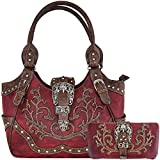 Western Concealed Carry Belts Buckle Country Purse Womens Handbag Messenger Shoulder Bag Wallet Set Red