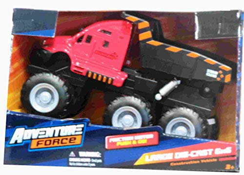 Adventure Force Diecast Friction Push N Go Red Dump Truck 6 x 6 Construction Truck