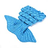 LAGHCAT Mermaid Tail Blanket with Scale Knit Crochet Mermaid Blanket for Kids,Sleeping Blanket,56''x28'', Light Blue