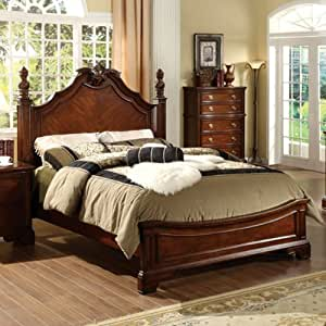 queen size carlsbad ii dark cherry finish old english style bed frame kitchen dining. Black Bedroom Furniture Sets. Home Design Ideas