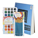 glokers Watercolor Paint Set. Includes 36 Colors, 10 Professional Paint Brushes, and XL Watercolor Pad 9x12 Fold Over. This Watercolor Pan Set is Great for Kids, Beginners, or Professional Artists