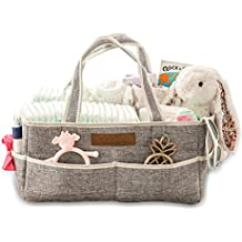Diaper Caddy Organizer by JoLayLe Baby │Premium Quality Collapsible Storage Tote for Your Changing Table │ The In-Home Diaper Bag│ Gender Neutral Gray perfect for any Nursery │Gift Basket
