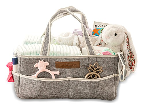 Diaper Caddy Organizer by JoLayLe Baby │Premium Quality Collapsible Storage Tote for Your Changing Table │ The In-Home Diaper Bag│ Gender Neutral Gray perfect for any Nursery │Gift Basket Cloth Diaper Burp Pad