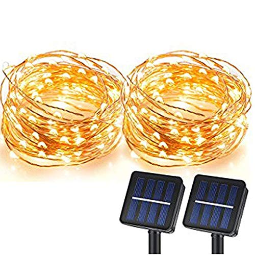 MagicPro Solar String Lights, 100 LEDs Starry String Lights, Copper Wire Solar Lights Ambiance Lighting for Outdoor, Gardens, Homes, Dancing, Christmas Party 2 Pack