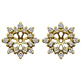 1/2 ct. White Sapphire Cluster Style Earring Jacket in 10k Yellow gold (0.48 ct. twt.)