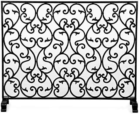 暖炉スクリーン 鋳鉄ブラックスパークガードメッシュ、子供ペット安全暖炉スクリーン、 装飾的なスクロールデザインの自立型火花フェンス (Color : Black)