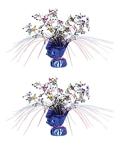 Beistle S57922AZ2, 2 Piece Musical Notes Gleam 'N Spray Centerpieces, 11'' by Beistle