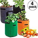 Maitys 4 Pieces Potato Grow Bags, 7 Gallon Garden Vegetables Planter Bags with Flap and Handles Non-Woven Grow Bags for Potato/Onion/Carrot/Tomato (Gray, Brown, Green, Black)