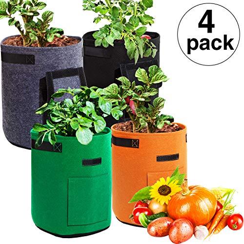 - Maitys 4 Pieces Potato Grow Bags, 7 Gallon Garden Vegetables Planter Bags with Flap and Handles Non-Woven Grow Bags for Potato/Onion/Carrot/Tomato (Gray, Brown, Green, Black)