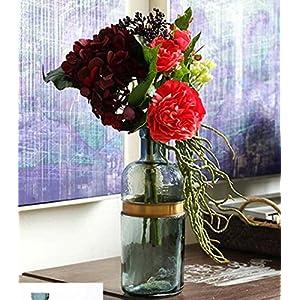 FYYDNZA Simulation Hand Held Flower Red Rose Hydrangea Simulation Bouquet Flower Silk Flower,Blue Necked Copper Ring Floral Vase Suit 4