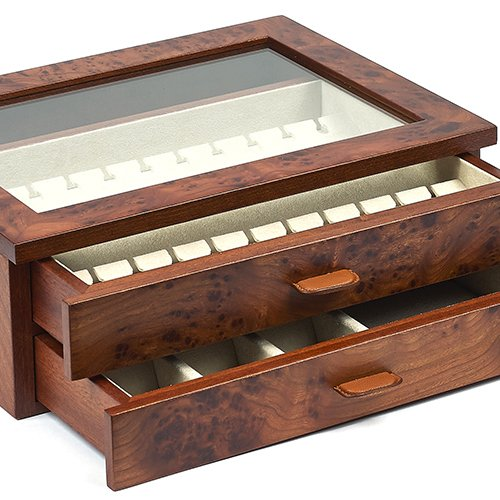 amazoncom bello collezioni gianluca luxury briar wood case cufflink and jewelry box from italy for 24 pairs home u0026 kitchen - Cufflink Box