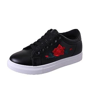 Bracelets de mode pour femmes Sports Running Sneakers Chaussures à fleurs en broderie noir KD6jFnE
