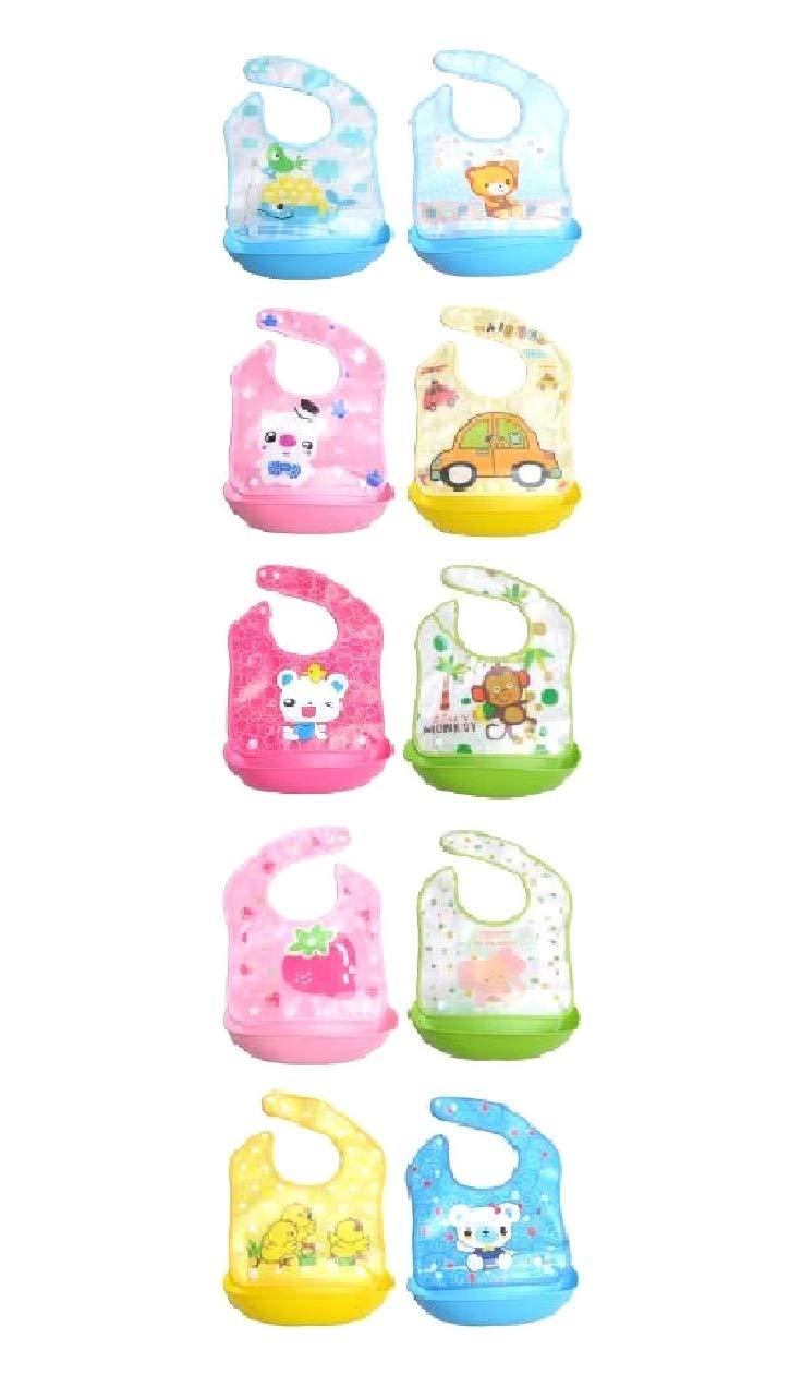 Unastar Waterproof Baby Bibs for Boys Or Girls, Silicone Bibs for Feeding 3-Pack Random Color OS