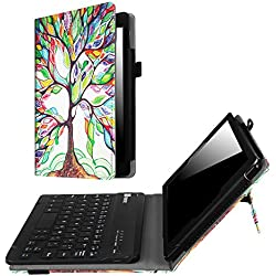 Fintie Keyboard Case for Amazon Fire HD 8 (Previous Generation - 6th) 2016 release, Slim Fit PU Leather Stand Cover with Quality All-ABS Hard Material Removable Wireless Bluetooth Keyboard, Love Tree
