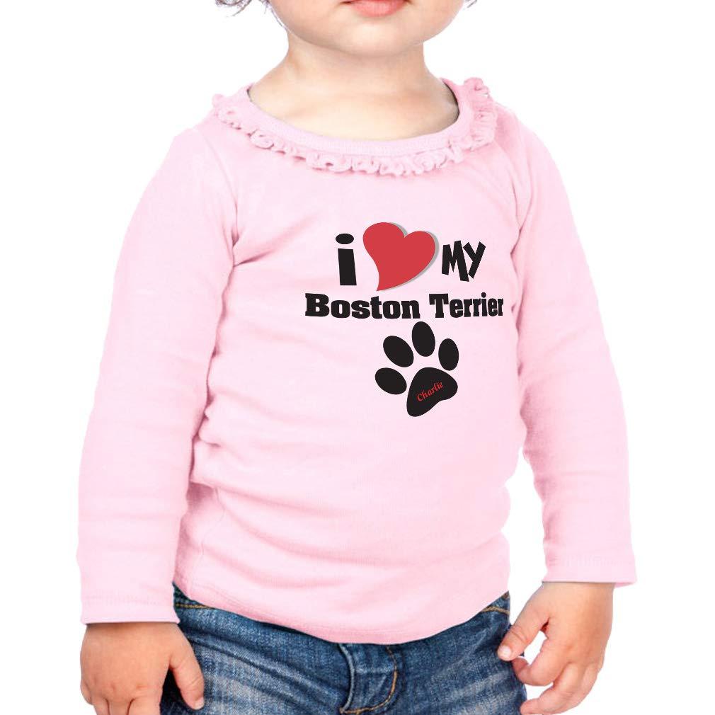 Custom My Boston Terrier Cotton Girl Toddler Long Sleeve Ruffle Shirt Top