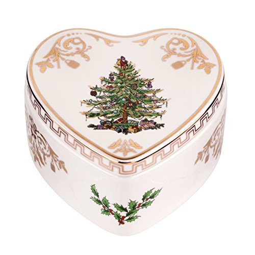 Spode Christmas Tree Heart Shaped Covered Box, Gold