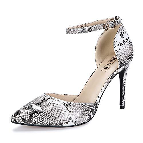 IDIFU Women's IN4 D'Orsay Alice Stiletto High Heel Ankle Strap Bridal Pump (Snake White, 8.5 B(M) US)