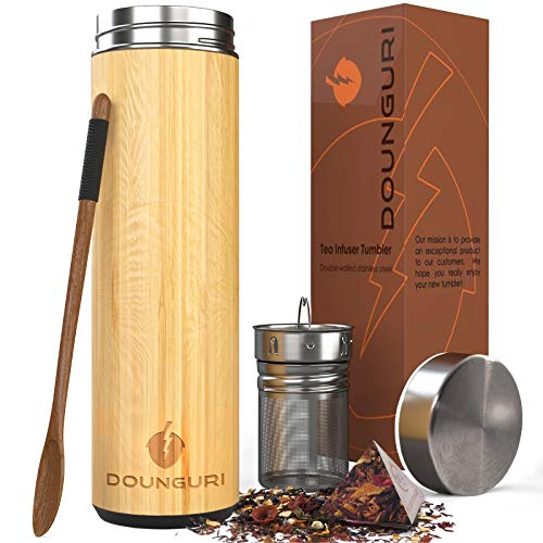 DOUNGURI Bamboo Tea Bottle Tumbler with Strainer Infuser - 18 oz. 100% Organic Bamboo Tea Thermos for Loose Leaf with Filter - Perfect Fruit Water Bottle and Travel Mug/Leak Proof