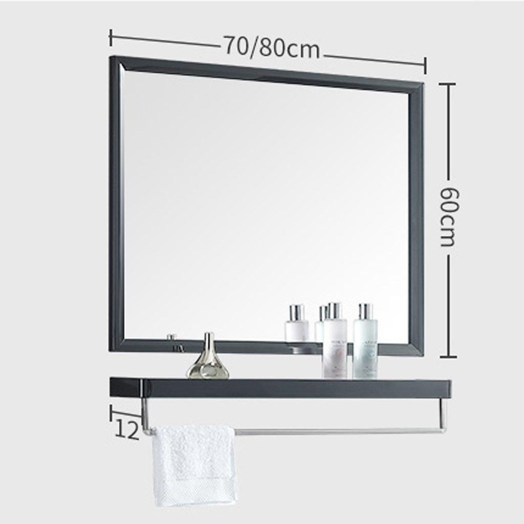 Specchio per Trucco Specchio Lavabile a Parete con mensola Bagno in Acciaio Inossidabile Colore: Oro, Dimensioni: 70 * 60 cm